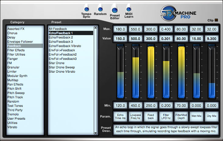 SFX Machine Pro is a modular VST audio effects plug-in. It comes with over 300 effects and lets users create their own effects from scratch.